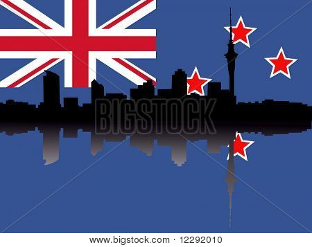Auckland skyline reflected on New Zealand flag