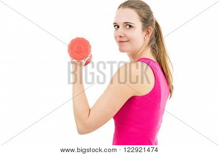 Young and healthy fitness woman training her arms. Isoalted on white background.