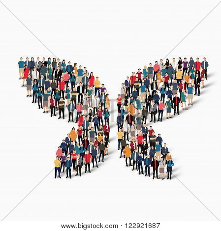 Isometric set of styles abstract  symbol  butterfly web infographics concept llustration of a crowded square, flat 3d. Crowd point group forming a predetermined shape. Creative people.