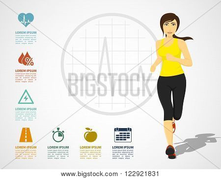 infographic template with young fit woman and icons healthcare and fitness concept