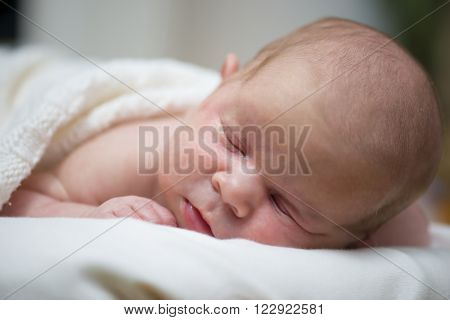 Adorable beautiful newborn baby girl. Maternity and newborn concept. Newborn baby is sleeping