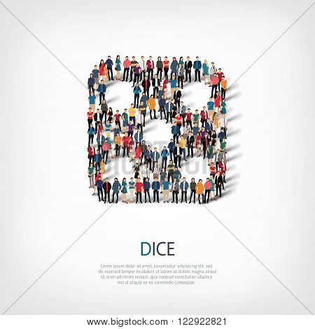 Isometric set of styles of dice, casino, web infographics concept llustration of a crowded square, flat 3d. Crowd point group forming a predetermined shape. Creative people.