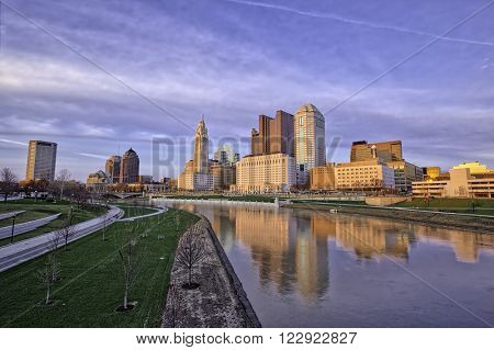 Columbus, Ohio reflected in the Scioto river