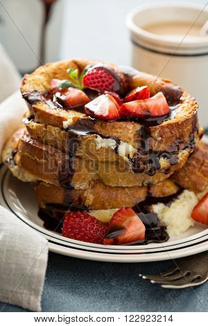 French toast tiramisu with coffee and mascarpone filling and strawberries