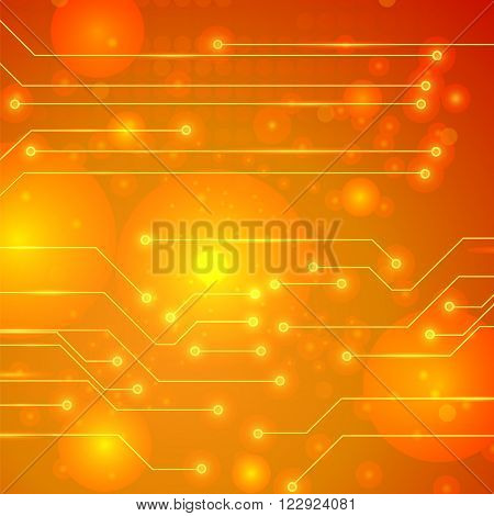 Modern Computer Technology Orange Background. Circuit Board Pattern. High Tech Printed Circuit Board