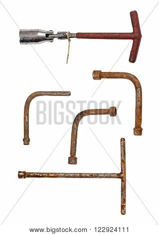 Old and dirty vwrenches  isolated on white background.
