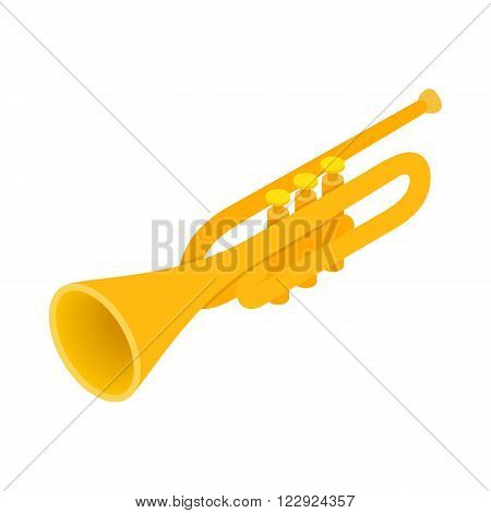 Brass trumpet icon in isometric 3d style on a white background