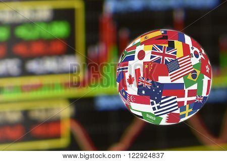 Flags globe over the display of daily stock market charts of financial instruments for technical analysis including volume and stochastic momentum analysis. Global stock market investment concept.