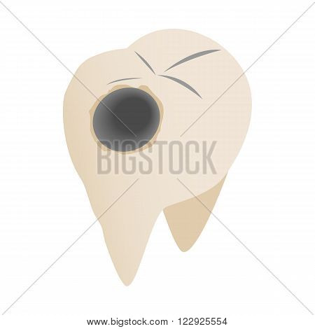 Teeth with caries icon in isometric 3d style on a white background