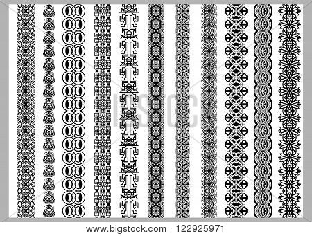 Indian Henna Border decoration elements patterns in black and white colors. Popular ethnic border in one mega pack set collections. Vector illustrations.Could be used as divider frame etc