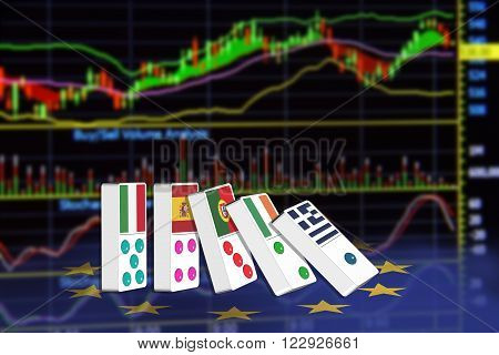 Five dominoes of EU countries that seem to have financial problem stand upright in front of the display of financial instruments for stock market technical analysis.