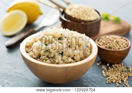 Lemon herbed cooked quinoa in a bowl
