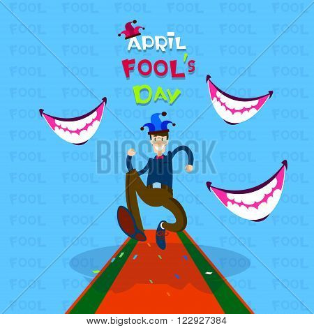 Man Wear Jester Running, Smiling Mouth, First April Fool Day Happy Holiday Flat Vector Illustration
