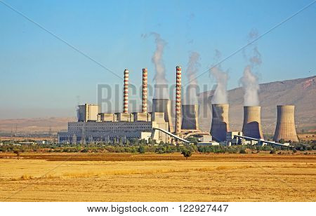 Power plant in Greece in the summer