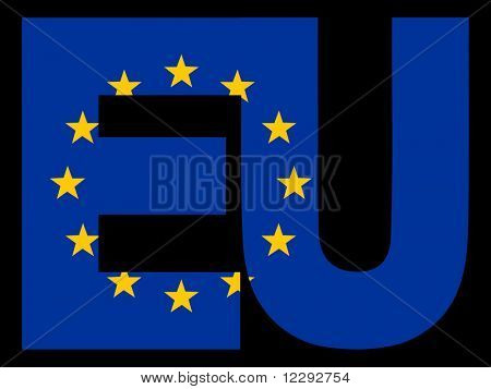 EU Text and European Union flag illustration