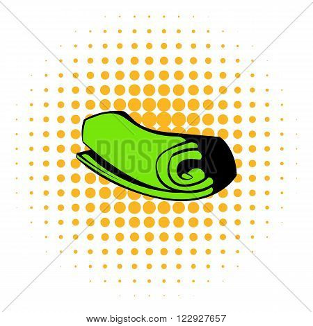 Green towel rolled up icon in comics style on a white background