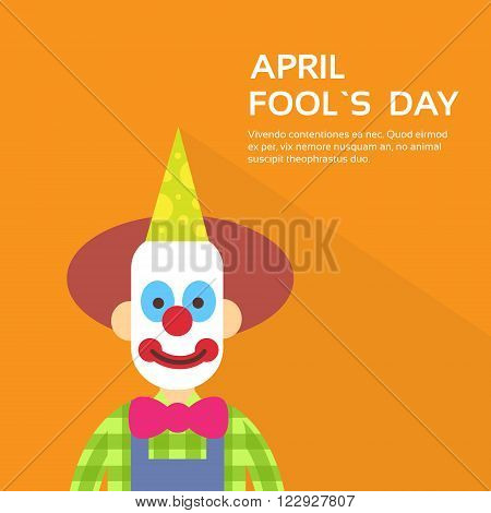 Clown Face First April Day, Fool Holiday Concept With Copy Space Flat Vector Illustration