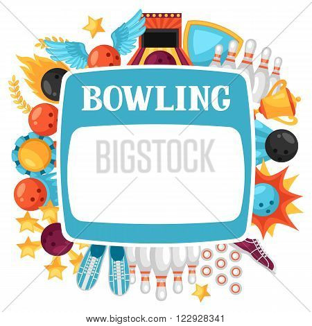 Background with bowling items. Image for advertising booklets, banners and flayers.