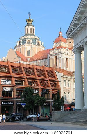 VILNIUS, LITHUANIA - JULY 18, 2015 : The Town Hall Square and St. Casimir Church in Vilnius city, Vilnius, Lithuania.