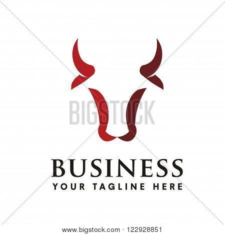 modern bull head negative space logo concept