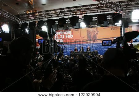 Atmospdere attends the award winners press conference of the 66th Berlinale International Film Festival on February 20, 2016 in Berlin, Germany.