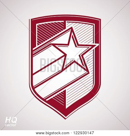 Vector military shield with pentagonal comet star protection heraldic sheriff blazon. Ussr conceptual symbol. Forces graphical coat of arms.