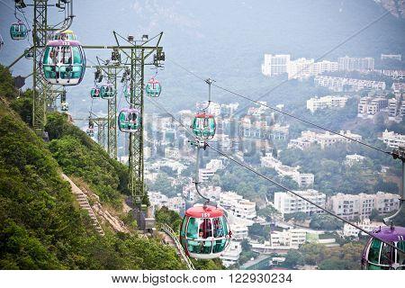 HONG KONG, HONG KONG - OCTOBER 01: cable cars over tropical trees in Hong Kong on October 01, 2012