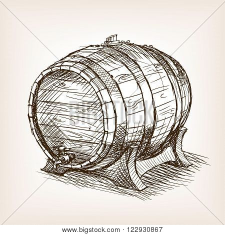 Wine barrel sketch style vector illustration. Old engraving imitation. Hand drawn sketch imitation