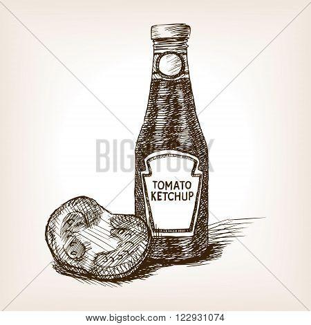 Bottle tomato ketchup sketch style  vector illustration. Old hand drawn engraving imitation. Vegetable illustration