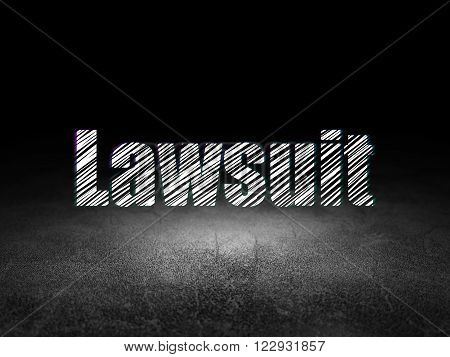 Law concept: Lawsuit in grunge dark room