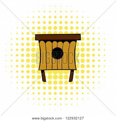 Wooden beehive icon in comics style on a white background