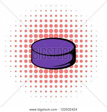 Hockey puck icon in comics style on a white background