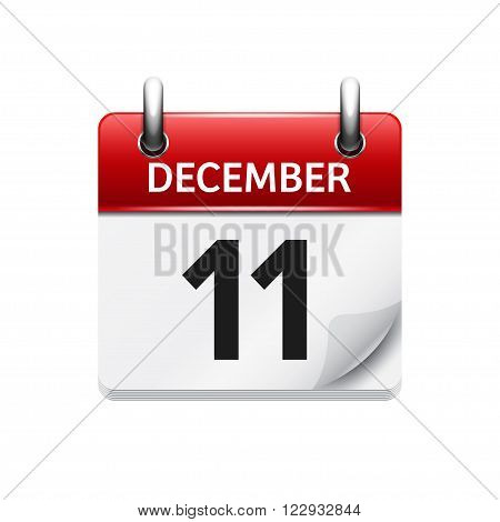 December  11. Vector flat daily calendar icon. Date and time, day, month. Holiday.