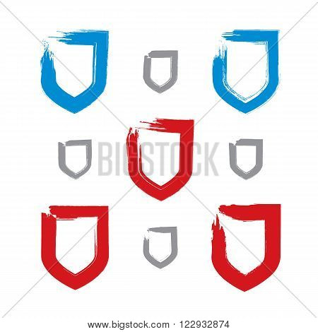 Collection of brush drawing vector security signs set of blue and red hand-painted simple shield icons protection symbols isolated on white background. User interface pictograms created with real hand-drawn ink brush scanned and vectorized.