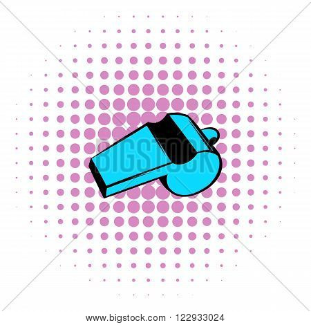 Blue sport whistle icon in comics style on a white background