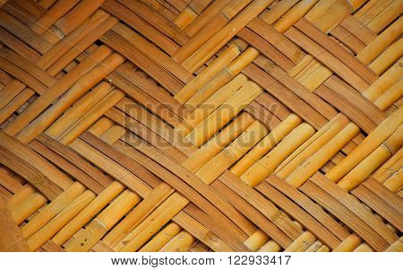 Wicker braided bamboo yellow and brown painted wall texture pattern