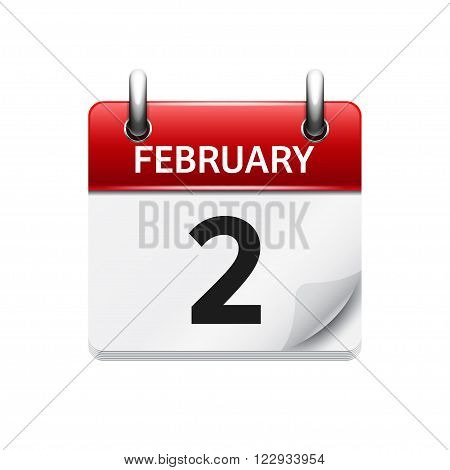 February 2. Vector flat daily calendar icon. Date and time, day, month. Holiday.