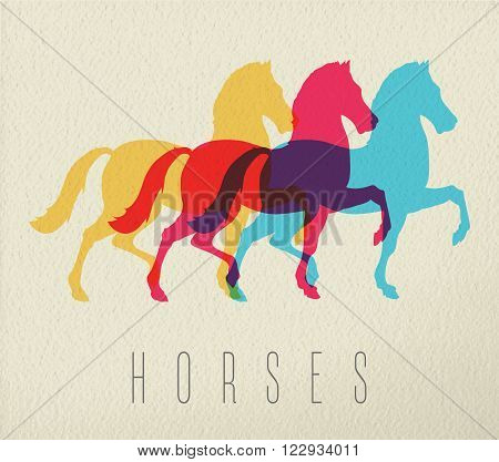 Horse concept illustration with colorful stallion silhouette on texture background. EPS10 vector.
