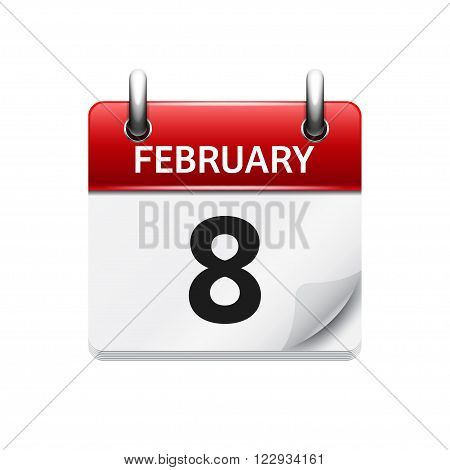 February 8. Vector flat daily calendar icon. Date and time, day, month. Holiday.