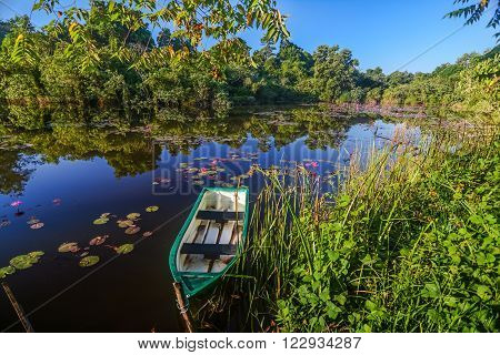 boat on lake with water lilies in Thailand