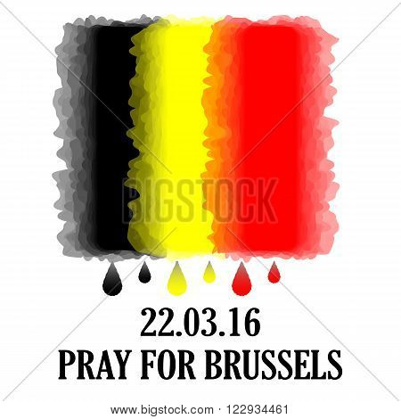 Pray for Brussels. Vector Belgium flag with tear drops and inscription. Pray for Brussels inscription. Vector illustration. 22 March 2016. Tribute to victims of terroristic attacks in Brussels
