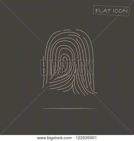 Flat icon fingerprint. Light fingerprint on dark background, vector