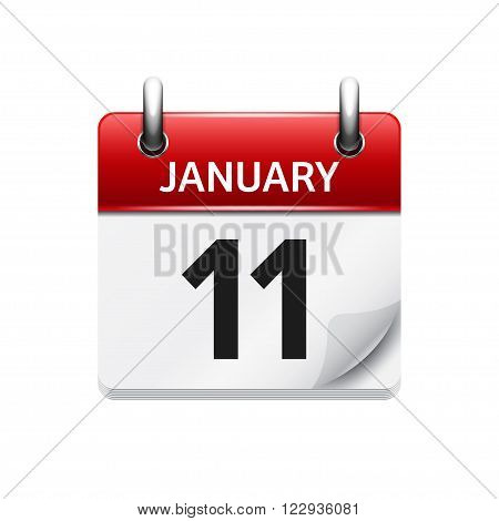 January 11. Vector flat daily calendar icon. Date and time, day, month. Holiday.