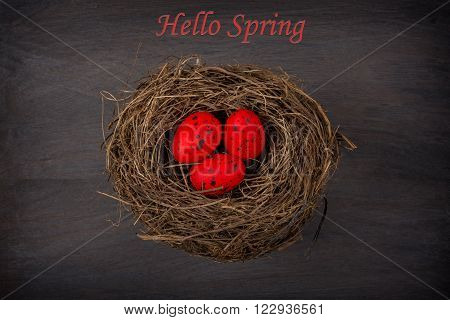 eggs in nest on rustic wooden background