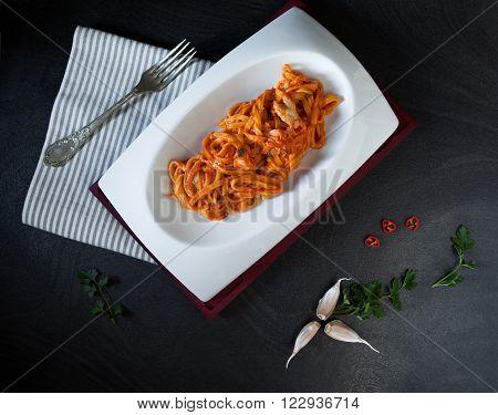 Fettuccine Pasta With Scorpionfish Sauce