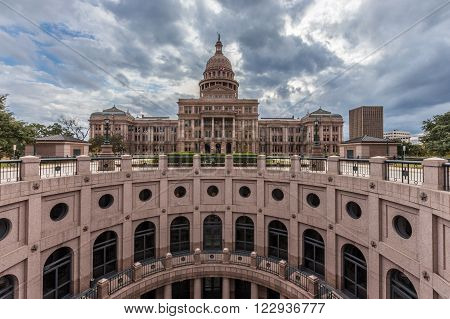 Texas state capital building in cloudy day Austin