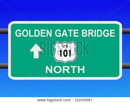 Golden Gate Bridge Highway 101 sign San francisco illustration JPG