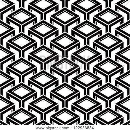 Black and white abstract geometric seamless 3d pattern. Vector stylized infinite backdrop best for graphic and web design.