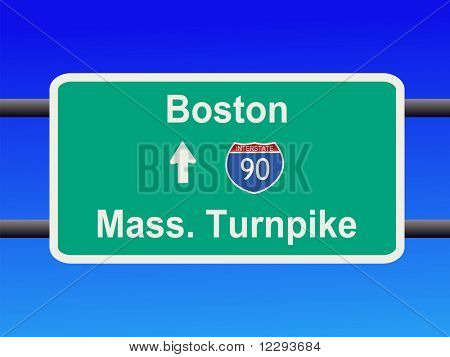 Massachusetts Turnpike Interstate 90 sign illustration JPG
