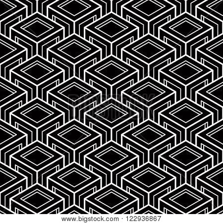 Continuous monochrome pattern decorative abstract background with 3d geometric figures. Contrast ornamental seamless backdrop can be used for design and textile.